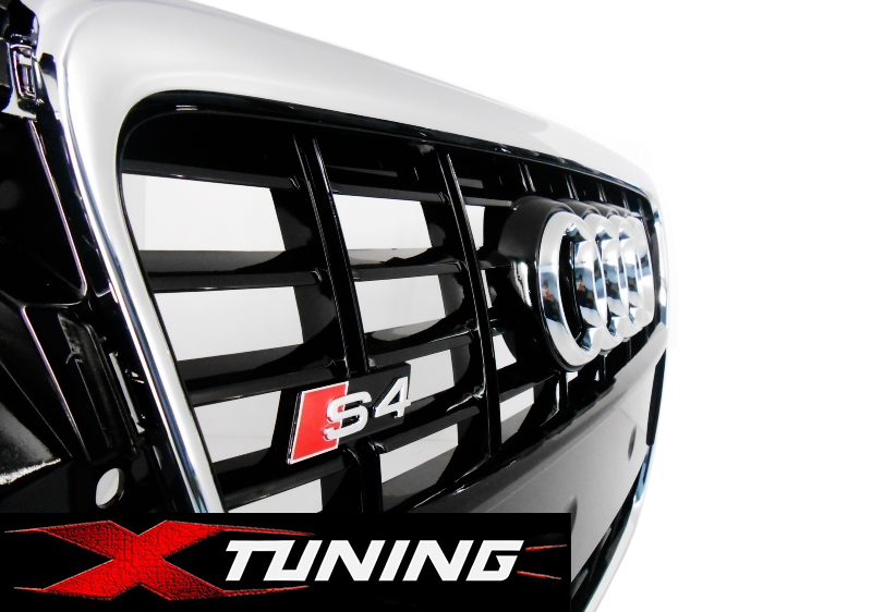 grill s4 look chrom schwarz audi a4 b8 8k s-line 2007-2012 frontgrill