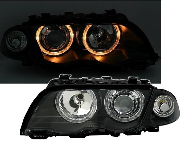 scheinwerfer e46 angel eyes schwarz bmw limousine touring. Black Bedroom Furniture Sets. Home Design Ideas