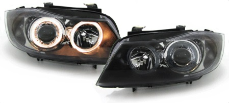 scheinwerfer angel eyes schwarz bmw e90 e91 limousine touring. Black Bedroom Furniture Sets. Home Design Ideas