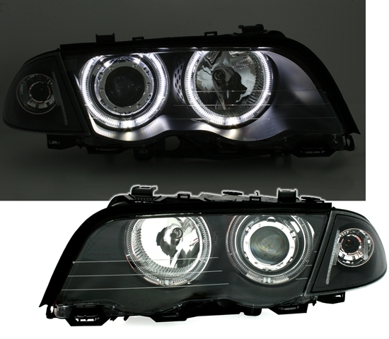 scheinwerfer e46 led angel eyes schwarz bmw limousine touring. Black Bedroom Furniture Sets. Home Design Ideas