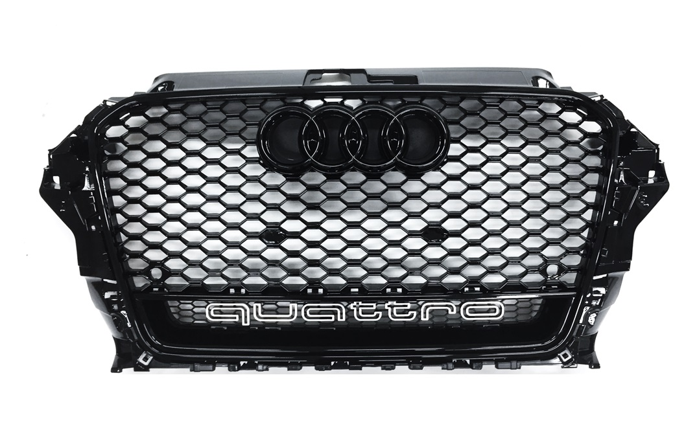 grill rs3 look schwarz quattro audi a3 s3 8v s line 2012 2015. Black Bedroom Furniture Sets. Home Design Ideas
